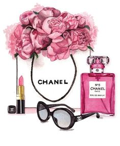 Fashion shopping art illustration print pink designer home decor floral pretty make up Chanel Wallpapers, Makeup Wallpapers, Cute Wallpapers, Chanel Wall Art, Chanel Decor, Mode Poster, Fashion Wall Art, Fine Art Paper, Iphone Wallpaper