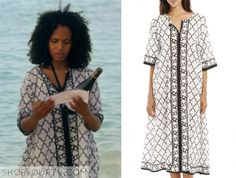 Olivia Pope (Kerry Washington) wears this black and white tile-print dress in this week's episode of Scandal. It is the Roberta Freyman Nicola Dress Magik. Buy it HERE for $135