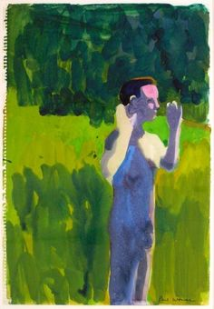 paul wonner - man with raised arms, 1960-62, watercolor on paper