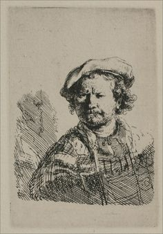 Rembrandt with a Flat Cap and Stashed Vest. 1638. Etching. 95 x 61 mm. Rembrandt van Rijn