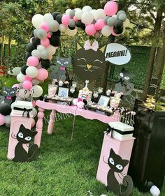 Kitten Party, Cat Party, Cat Birthday, 3rd Birthday Parties, Cat Themed Parties, Birthday Party Centerpieces, Childrens Party, Animal Party, Party Time