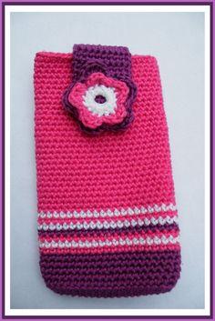 35 sar - any color/size avaliable - mobile/tablet case Granny Square Crochet Pattern, Crochet Flower Patterns, Crochet Designs, Crochet Flowers, Knitting Patterns, Crochet Phone Cover, Knit Crochet, Crochet Hats, Crochet Mobile