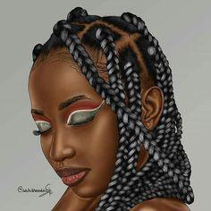 Black Love Art, Black Girl Art, Black Girls Rock, Black Is Beautiful, Black Girl Magic, Black Girl Braids, Girls Braids, 4c Hair, Galaxy Pics
