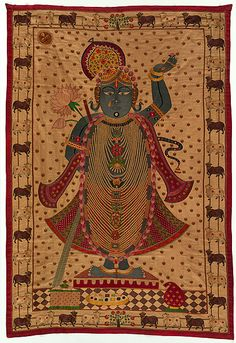 "Hindu Lord Krishna as Shrinathji; the 7 year old who lifted the Govardhan Hills to save the people. Nathdwara, Rajashan is the main shrine and origin of many of these pichhavai or shrine hangings late 19th C. cotton, silk embroidery 71.3"" x 48"""