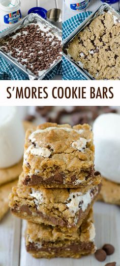 S'mores Chewy Cookie Bars - Soft and chewy graham cookie bars filled with a fluffy layer of marshmallow creme and milk chocolat - Recipes With Marshmallows, Chocolate Marshmallows, Chocolate Chip Cookies, Chocolate Chips, Chocolate Truffles, Chocolate Brownies, Chocolate Covered, Smores Dessert, Dessert Bars