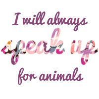 I will always speak up for animals. ALL animals, not just puppies and kittens. I am vegan for life.