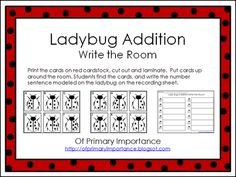 Of Primary Importance: Ladybug Addition write the room and insect write the room freebies