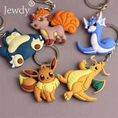 3D Anime Pokemon Go Key Ring Pikachu Keychain Pocket Monsters Key Holder Pendant Mini Charmander Squirtle Bulbasaur Figure Toys #Affiliate