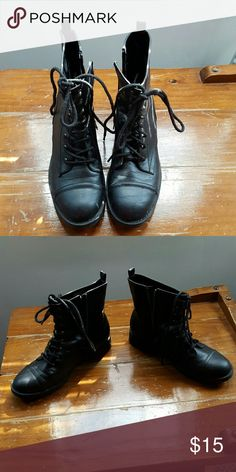 Ladies lace up boots Sketchers black lace up boots with side zippers Skechers Shoes Combat & Moto Boots