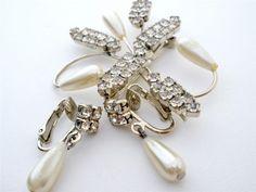 Pearl Clear Rhinestone Brooch Earrings Set Silver Vintage Art Deco