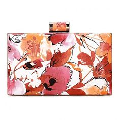 Yoins Floral Wash Painting Leather-look Box Clutch Bag ($26) ❤ liked on Polyvore featuring bags, handbags, clutches, yoins, orange, orange handbags, white handbags, white purse, hand bags and white box clutch