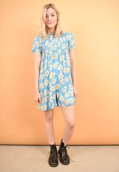 e18c6d9ee7 Cute 90s Vintage Baby Doll Blue Daisy Playsuit - Festival Dope Fashion