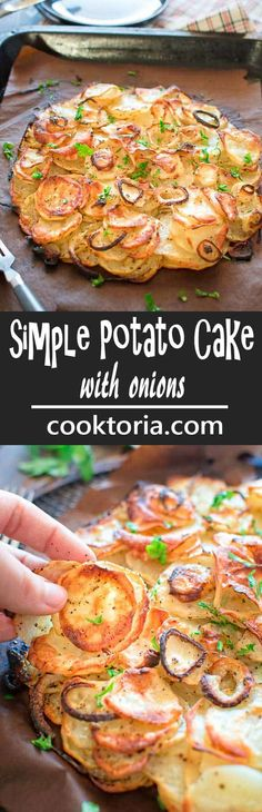 This Simple Potato Cake with Onions makes a perfect and filling lunch. Made with just 4 ingredients, this recipe is not to be missed!COM (Potato Recipes) Side Dish Recipes, Vegetable Recipes, Vegetarian Recipes, Dinner Recipes, Cooking Recipes, Healthy Recipes, Vegan Vegetarian, Flour Recipes, Bread Recipes