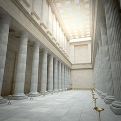 Greek temple interior model - TurboSquid 1210300 Buildings is usually a Highly-priced Segment! Temple Architecture, Ancient Greek Architecture, Classical Architecture, Sustainable Architecture, Architecture Design, Greek Buildings, Great Buildings And Structures, Temple Room, Temple Lds