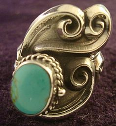 VINTAGE DESIGN TAXCO MEXICAN STERLING SILVER TURQUOISE POISON RING