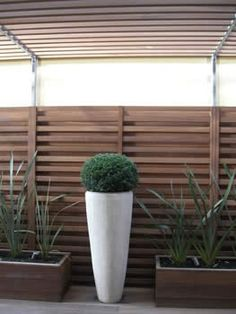 horizontal fencing and tall contemporary planters - Gaskin Street designs decorating before and after interior Modern Garden Design, Garden Landscape Design, Garden Fencing, Garden Landscaping, Contemporary Planters, Herb Garden In Kitchen, Outdoor Privacy, Modern Fence, Mosaic Garden