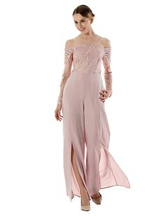 5180de24b1   45.14  Women s Daily   Holiday Street chic Boat Neck Blue Pink Wide Leg  Jumpsuit