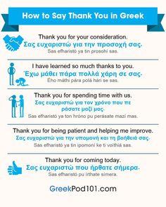 How to say thank you in Greek Greek Phrases, Greek Words, Greece Quotes, Zorba The Greek, Learn Greek, Speaking In Tongues, Greek Language, Greek Alphabet, School Lessons