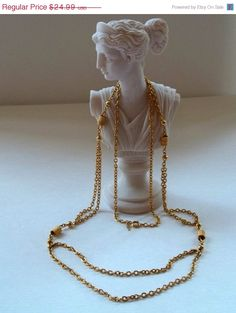 ON SALE Vintage Luxuriously Long Crown Trifari Gold Tone Link Double Ridged Chain Necklace Twisted Wire Stations.