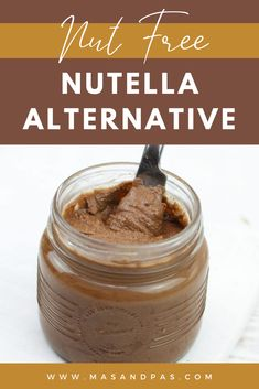 A nut free homemade nutella recipe here to save the day if you or your kids have nut allergies! This super easy, healthy DIY nutella alternative replaces tree nuts with sunflower seeds so you can enjoy a yummy chocolate topping for your toast, pancakes, and more without any fear or guilt! #homemadenutella #nutfreerecipes #healthynutella Gluten Free Recipes For Kids, Baby Food Recipes, Bread Recipes, Snack Recipes, Homemade Baby Snacks, Homemade Nutella Recipes, Healthy Meals For Kids, Healthy Breakfast Recipes, Kids Meals