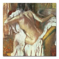 "Trademark Art 'Woman Drying Herself, 1888-92' by Edgar Degas Painting Print on Canvas Size: 24"" H x 24"" W x 2"" D"