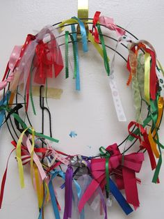 Teach Kindness:  Start with an empty wreath. When you observe your children being kind add a ribbon.  They get to choose the ribbon to be added. Let the 'kind-child' choose the spot on the wreath for their ribbon to be tied.  If they can tie it on themselves even better.