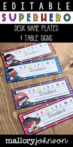 Editable Desk Name Plates and Table Signs Birthday Chart Classroom, Superhero Classroom Theme, Classroom Charts, Classroom Themes, My Teacher, Teacher Stuff, Shape Posters, Desk Name Plates, Table Signs