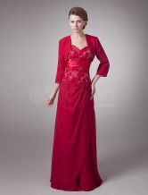 Fashional Red Silk Like Sweetheart Spaghetti Strap A-Line Mother of The Bride Dress
