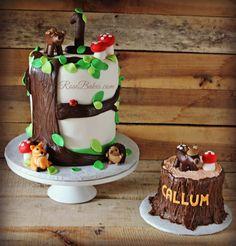 Woodland Animals Tree Stump Cake