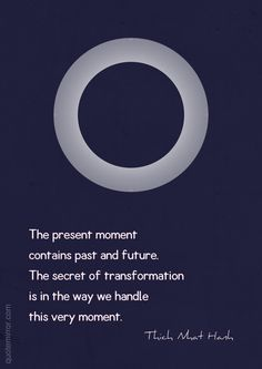 The present moment contains past and future. The secret of transformation is in the way we handle this very moment. –Thich Nhat Hanh #moment #transformation http://quotemirror.com/s/g0jx0