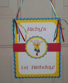 Door Sign - Caillou Inspired, Happy Birthday Invitation Design