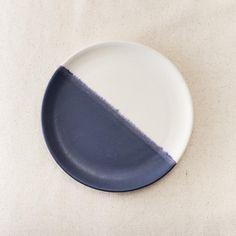 Lia Round Snack Plate - Marine Blanc