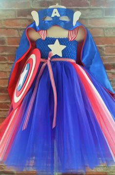 Captain America inspired tutu dress. Halloween by Shiningstarstore