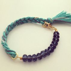 Items similar to Ciel Indie Bracelet - belle pierre grise et fil Bracelet tressé on Etsy
