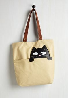 Got One Friend in My Pocket Tote in Black Cat - Cream, Black, Solid, Pockets, Cats, Critters, Faux Leather, Variation, Quirky, Gifts2015