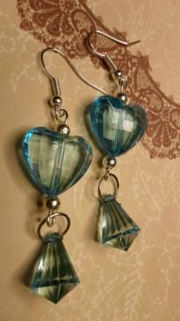Blue Acrylic Puffed Heart Dangle Earrings - NO FEES & FREE SHIPPING!!!