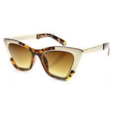 07f6bb85dd8f9 Womens High Fashion Metallic Futuristic Stunning Cat Eye Sunglasses