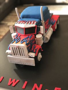 Optimus Prime cake Truck Birthday Cakes, Birthday Cookies, Transformer Birthday, Transformer Cake, Semi Truck Cakes, Rescue Bots Birthday, Dad Cake, Just Cakes, Occasion Cakes