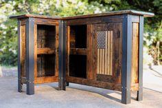 L Shaped Bar Reclaimed Wood Bar Restaurant Bar Wood Countertop Server station handmade bar furniture Metal and wood American flag