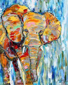 peinture sur toile multicolore à motif éléphant pour raviver la déco murale