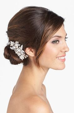 Wedding Belles New York 'Luella' Czech Crystal & Freshwater Pearl Clip available at #Nordstrom
