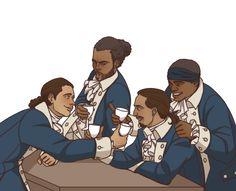 Hamilton crew drinks up fanart by videntefernandez