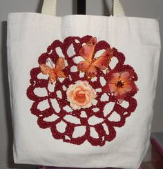 Embellished tote bag with butterflies and by CrochetByTeresa, $30.00