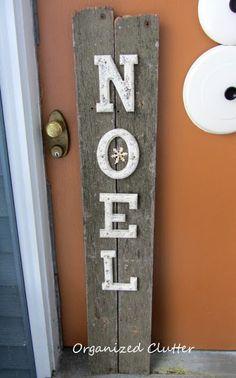 Thrift Shop Letter & Junk Wood Noel Sign www.organizedclut...