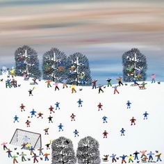 Football Christmas card - The Match Must Go On by Gordon Barker. Blank inside and individually cello-wrapped Xmas card. Published by Art Cove UK.