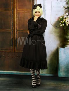 Cotton Dark Navy Blue Front Tie Classic Lolita Dress