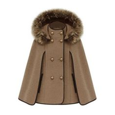 Double Breasted Camel Cape Coat (€65) ❤ liked on Polyvore featuring outerwear, coats, jackets, coats & jackets, capes, camel sleeveless coat, double breasted cape coat, fur-lined coats, sleeveless cape coat and double-breasted coat