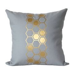 Metallic Gold Hive Honeycomb Euro 24 x 24 by KyleWayneTaylorHome, $39.95