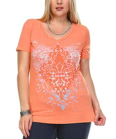 Another great find on #zulily! Coral Damask Embellished Scoop Neck Tee - Plus #zulilyfinds