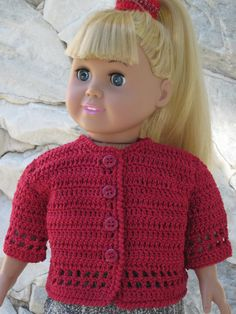 Dark red crocheted cardigan for an 18 doll. by TinaDollDesigns, $17.00